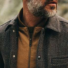 fit model wearing The Decker Jacket in Wool Beach Cloth, chest