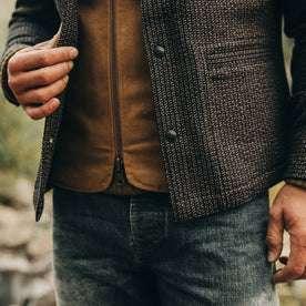 fit model wearing The Decker Jacket in Wool Beach Cloth, jacket bottom