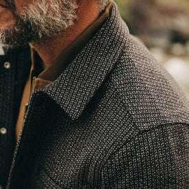 fit model wearing The Decker Jacket in Wool Beach Cloth, shoulder