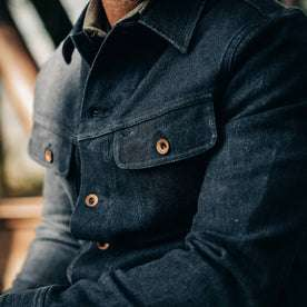 The Long Haul Jacket in Indigo Boss Duck—cropped shot of chest