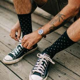 our fit model wearing our merino socks outdoors
