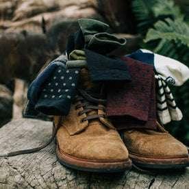 material shot outdoors of our merino socks