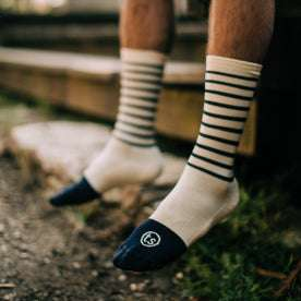 our fit model outdoors with our merino socks