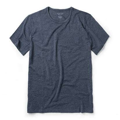 The Merino Tee in Heather Navy