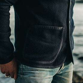 our fit model wearing The Port Jacket in Indigo Sashiko—cropped shot of right pocket