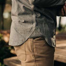 our fit model wearing The Western Shirt in Olive Melange—bottom detail