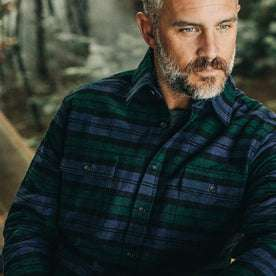 our fit model wearing The Yosemite Shirt in Blackwatch Plaid—cropped shot of chest