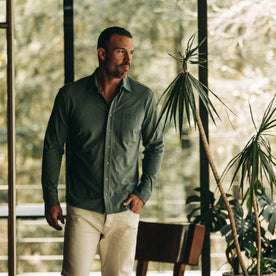 fit model wearing The California in Sea Green Pique,  hand in pocket indoors