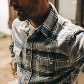 fit model wearing The Ledge Shirt in Navy Plaid, chest detail