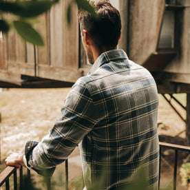 fit model wearing The Ledge Shirt in Navy Plaid, back shot