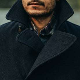 fit model wearing The Mendocino Peacoat in Navy Wool, chest shot