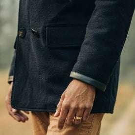 fit model wearing The Mendocino Peacoat in Navy Wool, sleeve shot