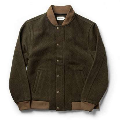 The Bomber Jacket in Olive Wool