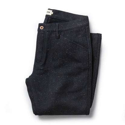 The Camp Pant in Navy Donegal Herringbone