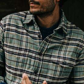 fit model wearing The Crater Shirt in Blue Plaid, cropped shot of chest