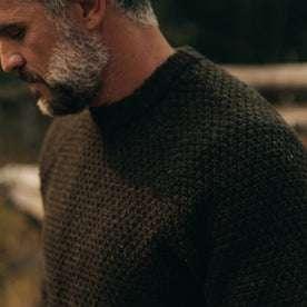fit model wearing The Fisherman Sweater in Loden, shoulder detail