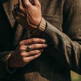 fit model wearing The Gibson Jacket in Olive Herringbone Wool, sleeves