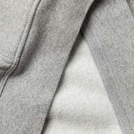 material shot of The Heavy Bag Hoodie in Heather Grey Fleece with inside fleece and exterior fabric contrasted