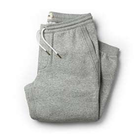flatlay of The Heavy Bag Pant in Heather Grey Fleece folded up from the front
