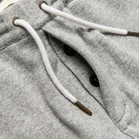 material shot of The Heavy Bag Pant in Heather Grey Fleece's hidden button fly