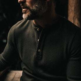 our fit model wearing The Heavy Bag Waffle Henley in Olive—cropped shot of chest