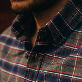 fit model wearing The Jack in Brushed Grey Plaid, cropped shot of collar