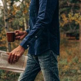 fit model wearing The Jack in Indigo Cord, cropped shot, walking