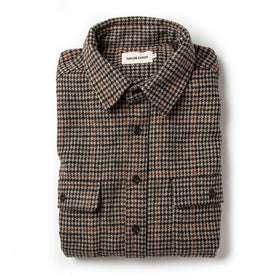 Flatlay of The Leeward Shirt in Houndstooth with sleeves folded