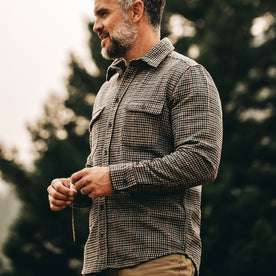 our fit model wearing The Leeward Shirt in Houndstooth from an upward angle showing entire shirt