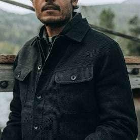 fit model wearing The Long Haul Jacket in Black Indigo Sashiko—cropped shot of chest