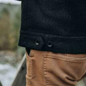 fit model wearing The Long Haul Jacket in Black Indigo Sashiko—side material detail