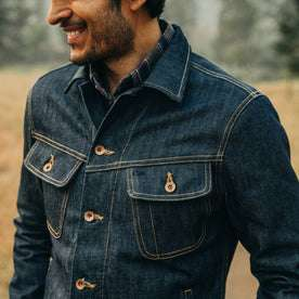 The Long Haul Jacket in Cone Mills Reserve Selvage, smiling, shot of chest detail