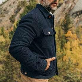 The Long Haul Jacket in Indigo Sashiko—cropped shot, hands in pockets