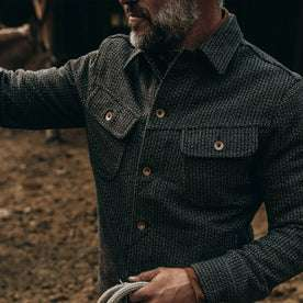 fit model wearing The Long Haul Jacket in Wool Beach Cloth—chest detail