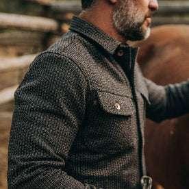 fit model wearing The Long Haul Jacket in Wool Beach Cloth—shoulder detail