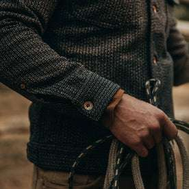 fit model wearing The Long Haul Jacket in Wool Beach Cloth—sleeve detail