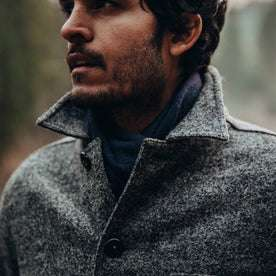 our fit model wearing The Ojai Jacket in Charcoal Wool—cropped shot of chest up