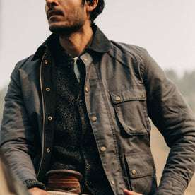 fit model wearing The Rover Jacket in Ripstop Slate Dry Wax, chest