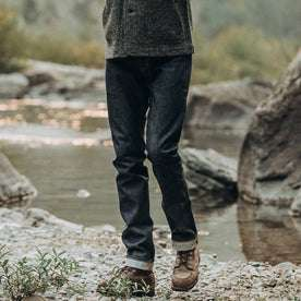 fit model wearing The Slim Jean in Cone Mills Reserve Selvage, waist down
