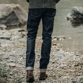 fit model wearing The Slim Jean in Cone Mills Reserve Selvage, back shot
