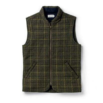 The Vertical Vest in Olive Plaid Wool