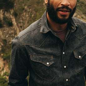fit model wearing The Western Shirt in Nihon Menpu Reserve Selvage, chest detail