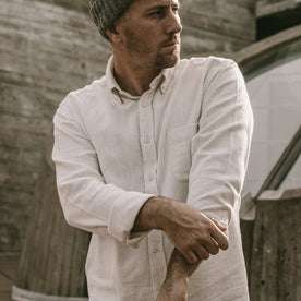 Our fit model wearing The Jack in Natural Brushed Cotton.Our fit model wearing The Jack in Natural Brushed Organic Cotton.