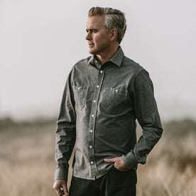 Our fit model wearing The California in Charcoal Everyday Chambray.