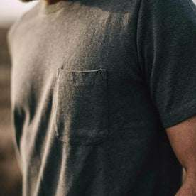 Our fit model wearing The Heavy Bag Tee in Heather Grey from Taylor Stitch.
