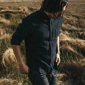 Our fit model wearing The Jack in Indigo Waffle