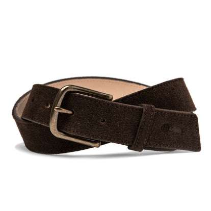 The Stitched Belt in Weatherproof Chocolate Suede