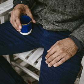 The ft model relaxing in his moleskin camp pants