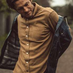 Our fit model wearing The Jack Shirt in Cone Mills Cord.