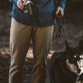 Our fit model with his dog